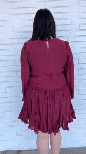Load image into Gallery viewer, Wine Ruffled Swing Dress