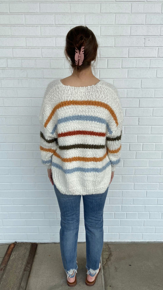 Ivory Multi-Striped Sweater
