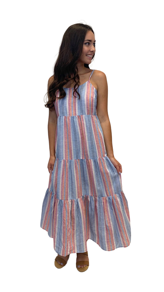 Coral Stripe at the Beach Maxi