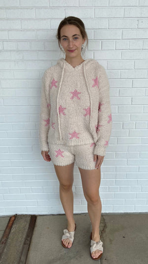 Load image into Gallery viewer, Cream and Pink Starstruck Shorts