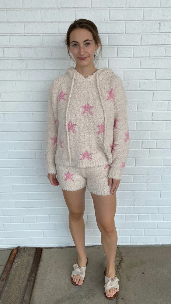 Load image into Gallery viewer, Cream and Pink Starstruck Hoodie