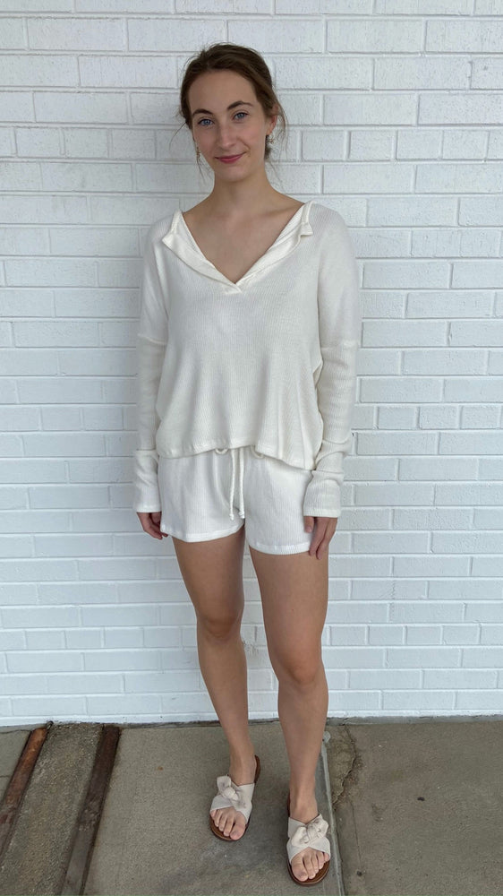 Load image into Gallery viewer, Ivory Soft Ribbed Shorts