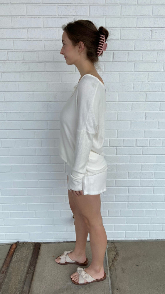 Ivory Soft Ribbed Shorts