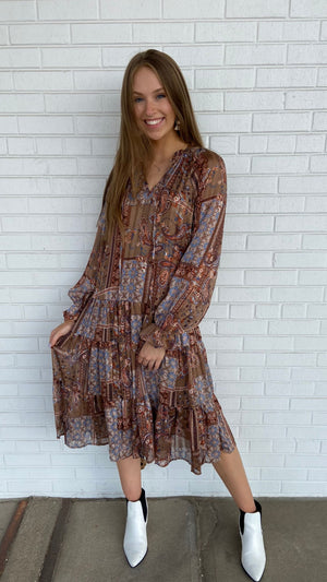 Load image into Gallery viewer, Mocha Paisley Patches Midi Dress