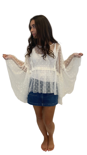 White Shear Flutter Top