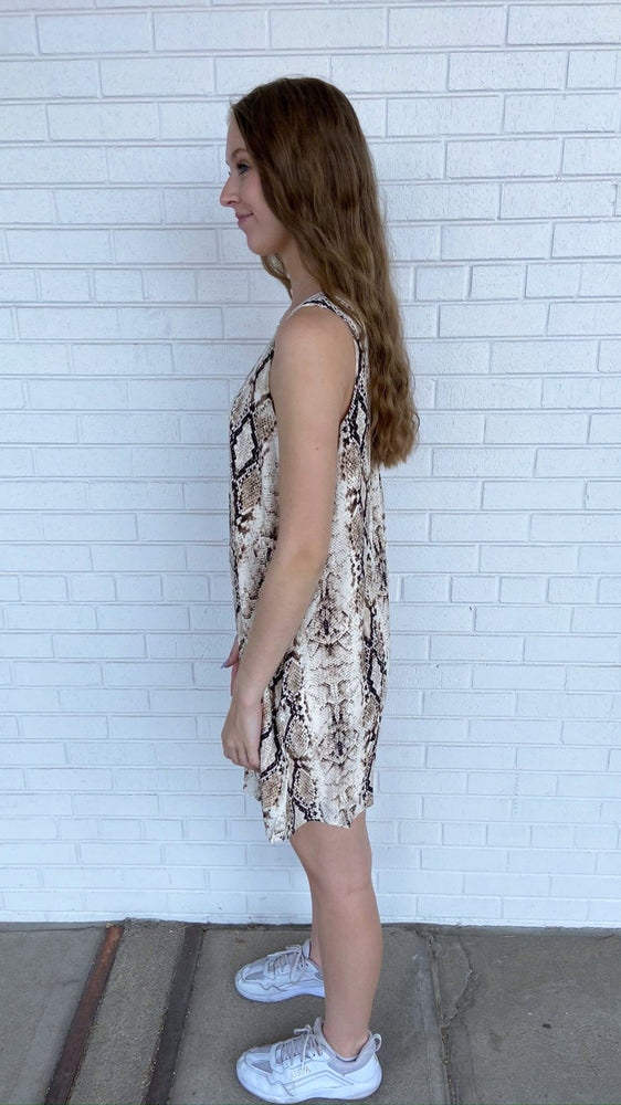 Taupe Snake Print Dress