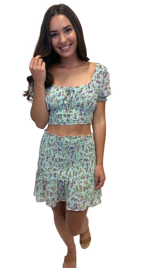 Load image into Gallery viewer, Aqua Floral Flirt Top