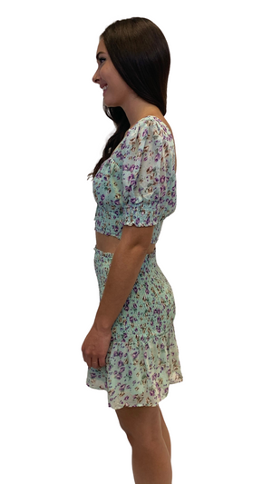Load image into Gallery viewer, Aqua Floral Flirt Skirt