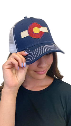 Load image into Gallery viewer, Navy Colorado Dreamin' Trucker Hat