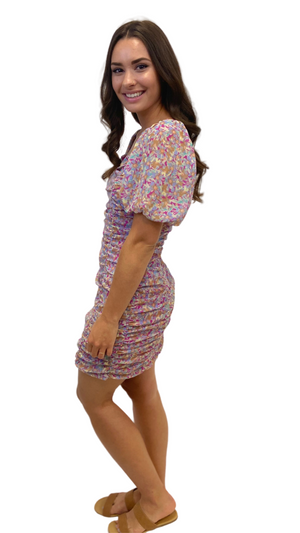 Load image into Gallery viewer, Meadow Floral Ruched Mini Dress