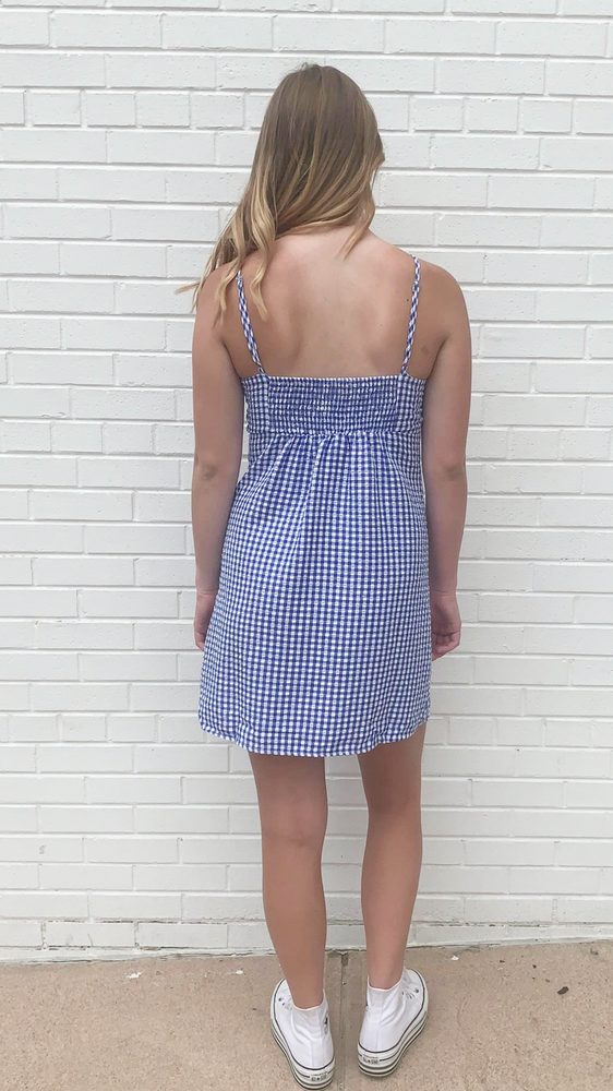 Load image into Gallery viewer, Blue Gingham Mini Dress