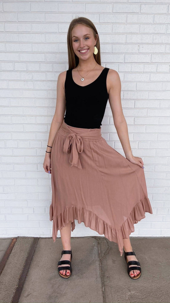 Load image into Gallery viewer, Copper Midi Ruffle Skirt