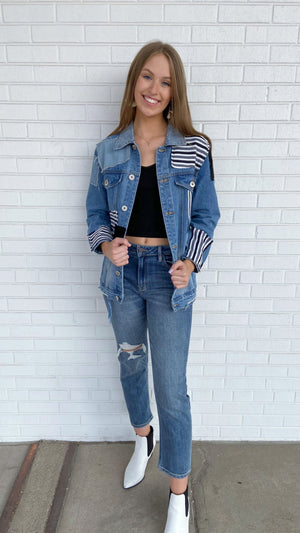 Denim Patched Up Jacket