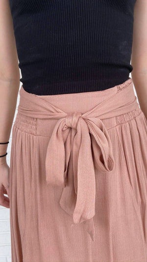 Copper Midi Ruffle Skirt