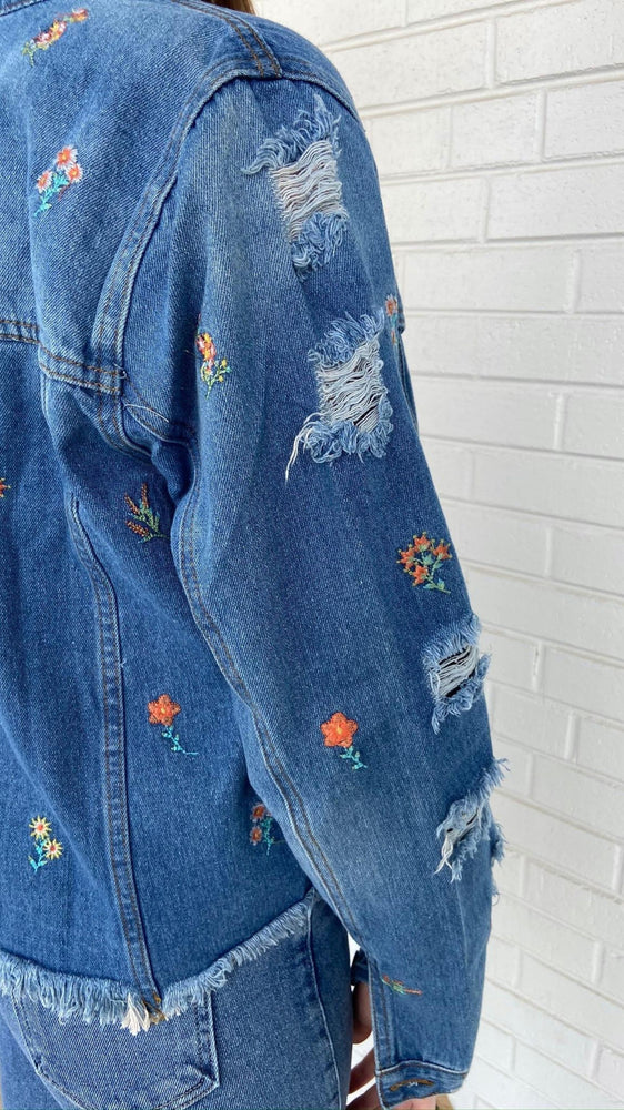 Denim Floral Embroidered Jacket