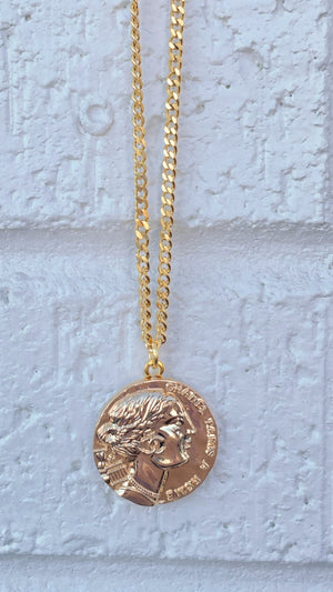 Gold CC Face Necklace