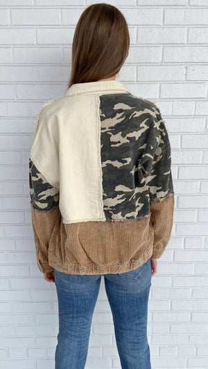 Load image into Gallery viewer, Camo Corduroy Patchwork Jacket