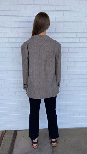 Load image into Gallery viewer, Taupe Houndstooth Dad Blazer