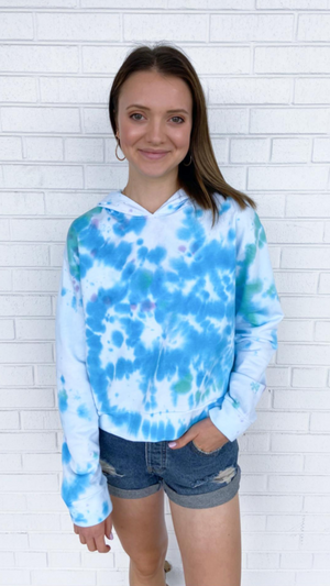 Load image into Gallery viewer, Blue Miami Tie Dye Hoodie