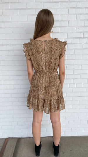 Load image into Gallery viewer, Tan Reptile Ruffle Dress