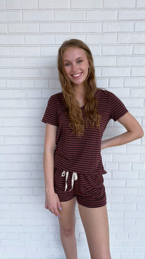 Load image into Gallery viewer, Burgundy Striped V-neck Top