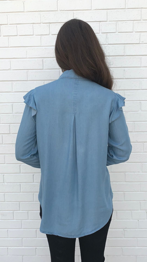 Denim Ruffle Sleeve Button Down