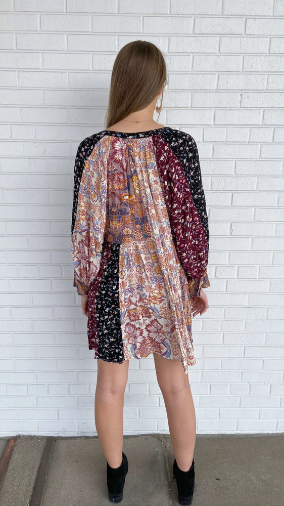 Wine Mix Floral Print Dress