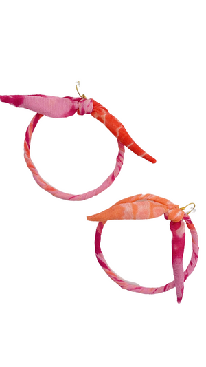 Load image into Gallery viewer, Fruit Cocktail Bow Hoop Earrings