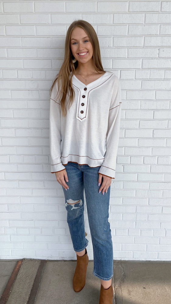 Load image into Gallery viewer, Cream Slouchy Henley
