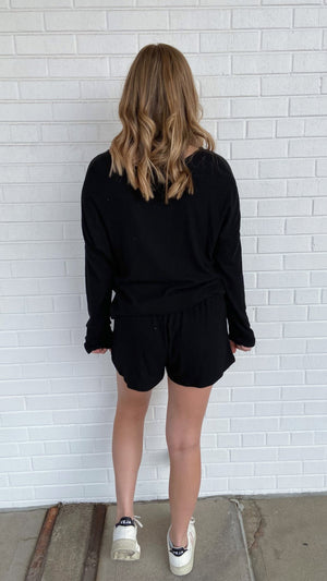 Black Soft Ribbed Long Sleeve Top