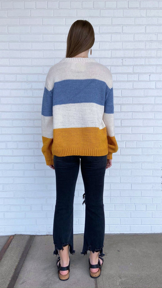 Mustard and Blue Colorblock Sweater