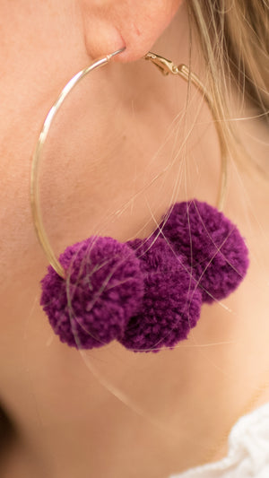 Plum Bon Bon Hoop Earrings