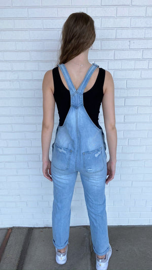 Light Denim Hidden Boyfriend Overalls