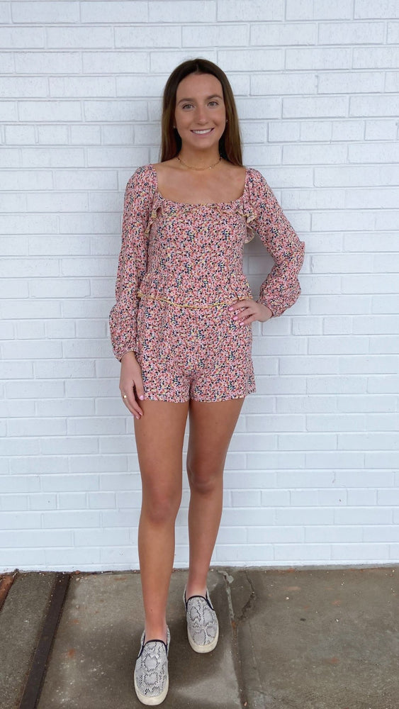 Load image into Gallery viewer, Pink Ditzy Floral Romper