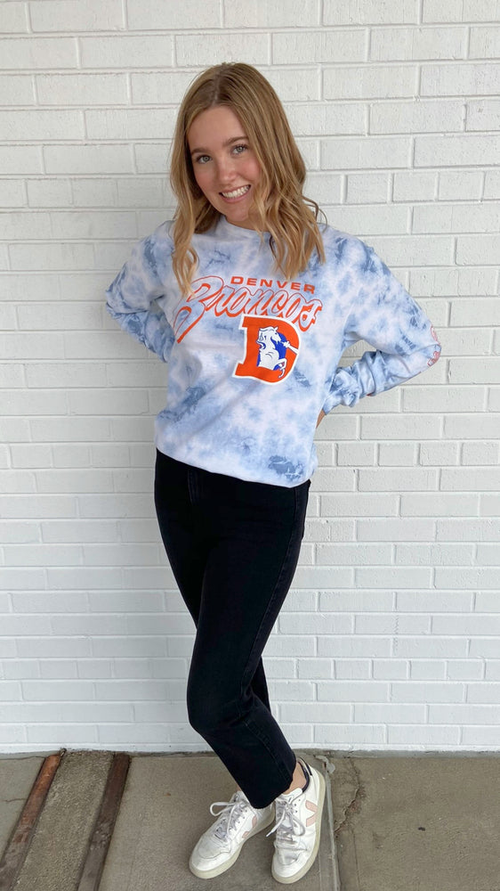 Load image into Gallery viewer, Tie Dye Broncos Long Sleeve Crewneck