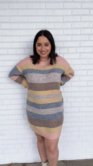 Pastel Striped Sweater Dress