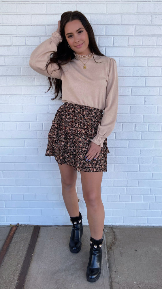 Floral Tiered Mini Skirt