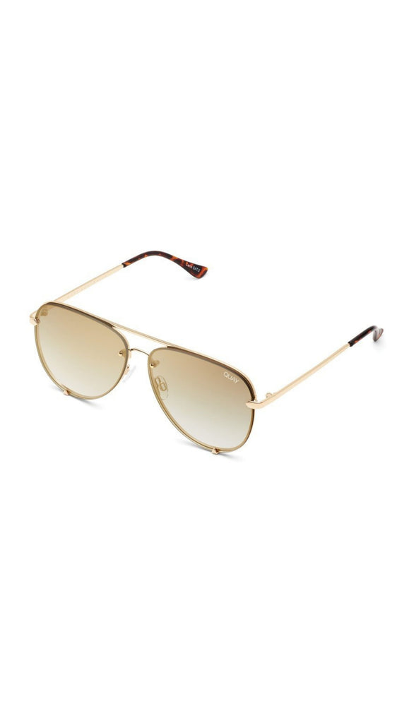 Gold High Key Rimless Quay Sunnies