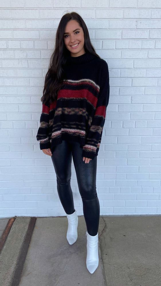 Black Multi Cowl Neck Sweater