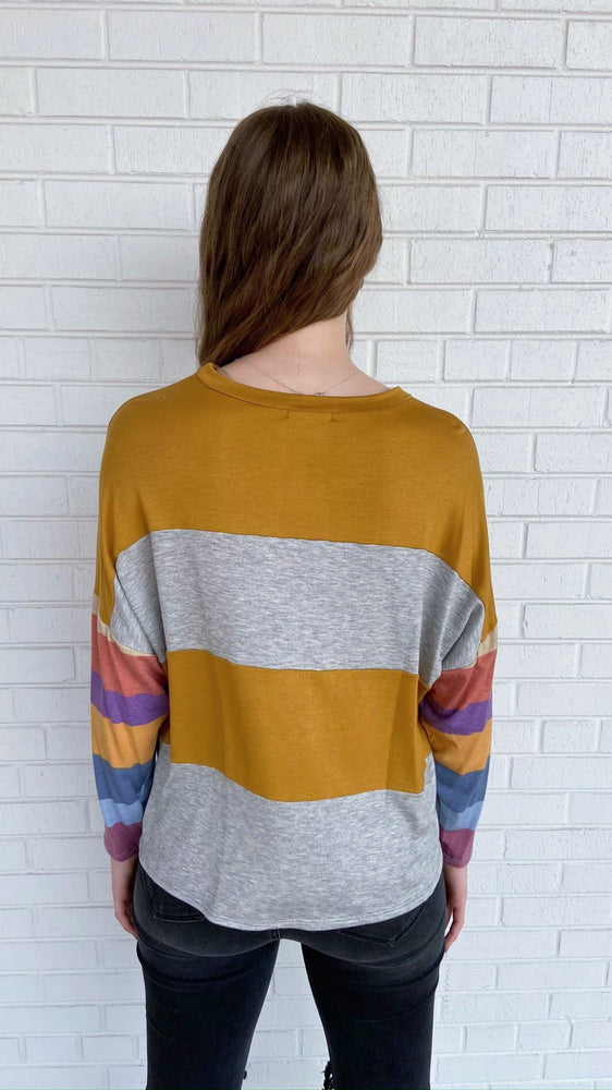 Load image into Gallery viewer, Mustard Colorblock Dolman Sleeve Top
