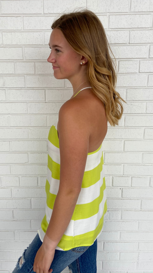 Load image into Gallery viewer, Lime Striped Racer Tank