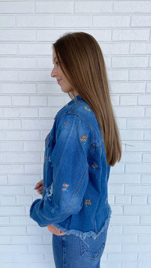 Load image into Gallery viewer, Denim Floral Embroidered Jacket