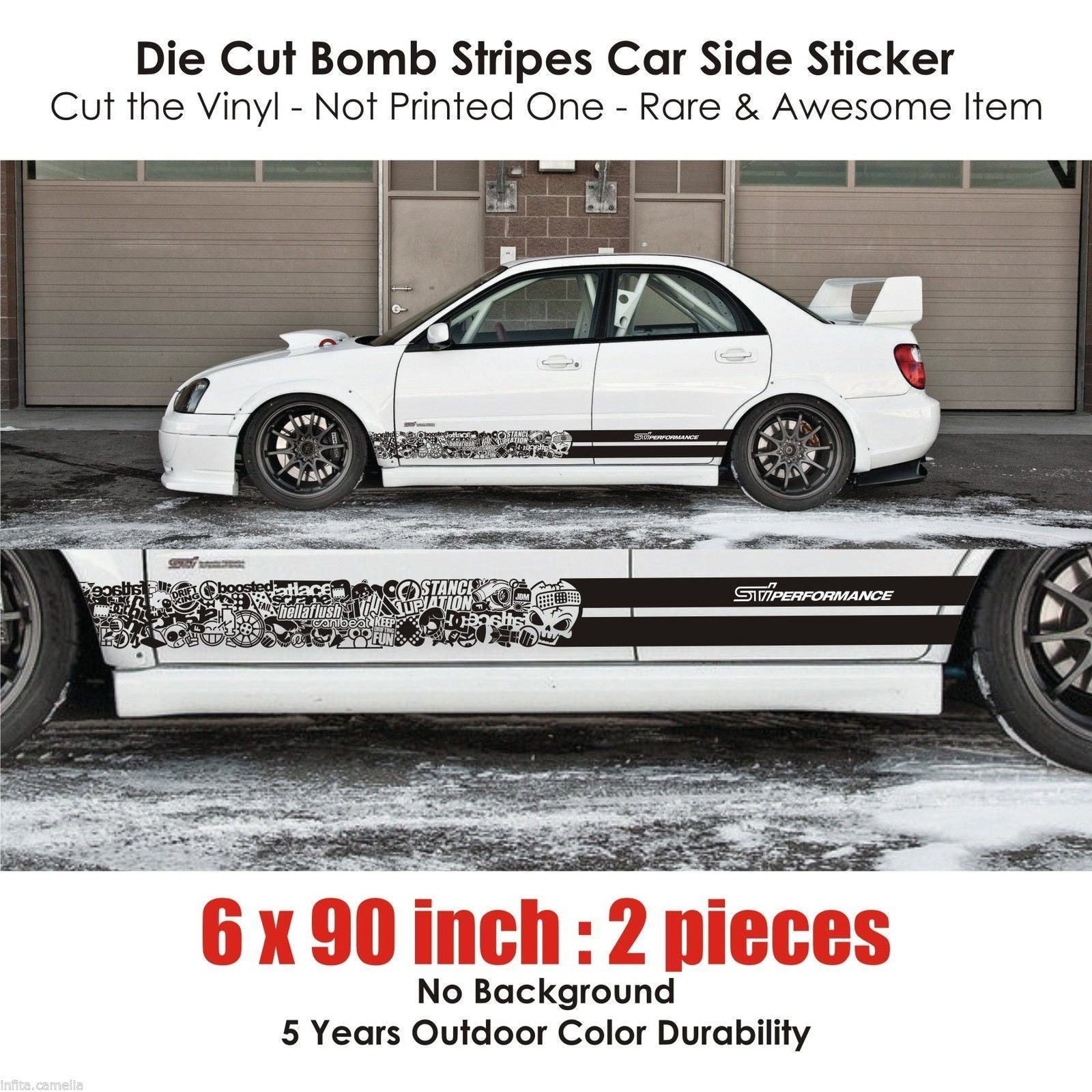 BSK 002 Subaru STI Performance bomb stickers stripes racing jdm japan turbo  drift - Infinity270 - 1.