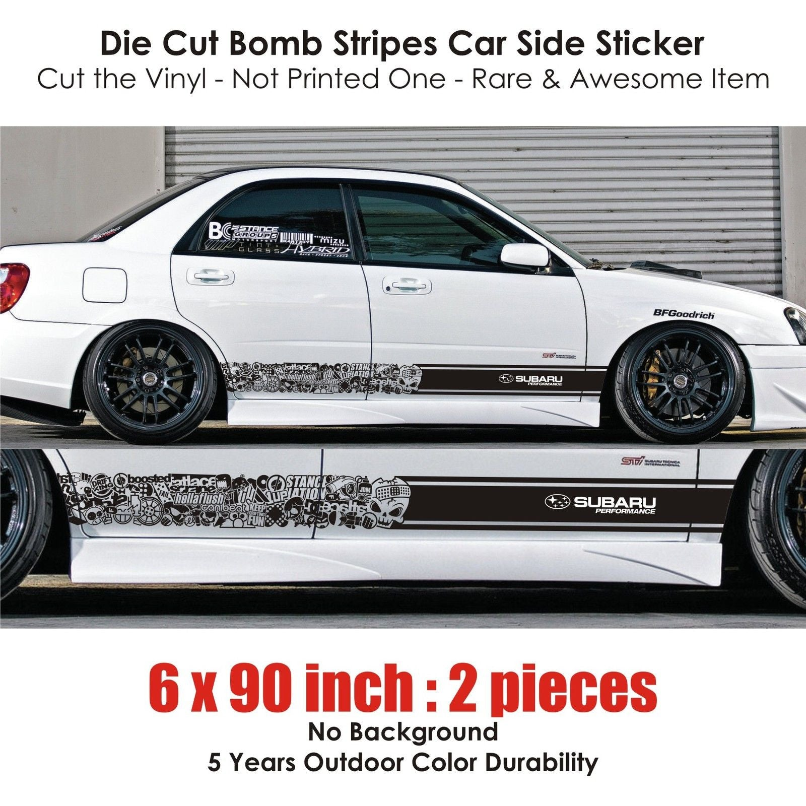 ... BSK 004 - Subaru STI BRZ WRX XV bomb stripe sticker kit rally drift  race drag ...
