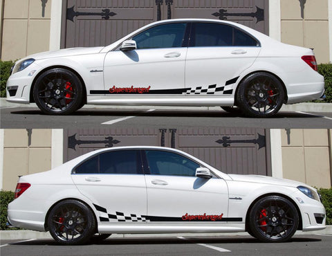 SPK-140 mercedes benz c63 w204 amg germany euro racing stripes sticker decal kit daimler ag c-class supercharged oem turbo boost - Infinity270