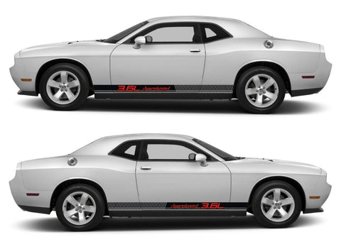 dodge challenger sticker racing stripes stickers decal kit srt sxt hemi pentastar sohc muscle car 3.6L supercharged speed cummins - Infinity270