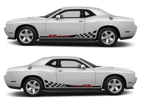 dodge challenger sticker racing stripes stickers decal kit srt sxt hemi pentastar sohc muscle car 3.6L supercharged oem stance cummins - Infinity270