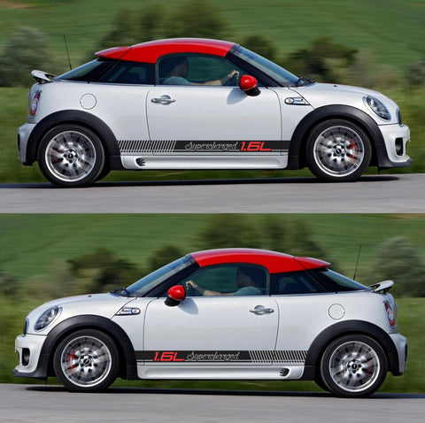 SPK-292 mini cooper coupe roadster r58 r59 racing stripes sticker works decal kit turbo john boost all4 diesel turbo - Infinity270