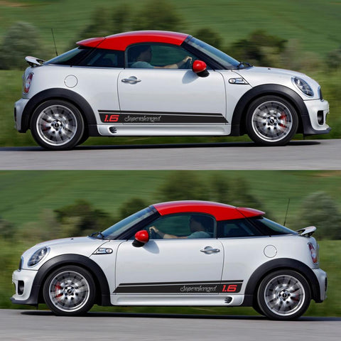 SPK-293 mini cooper coupe roadster r58 r59 racing stripes sticker works decal kit turbo john rally turbo drive speed - Infinity270