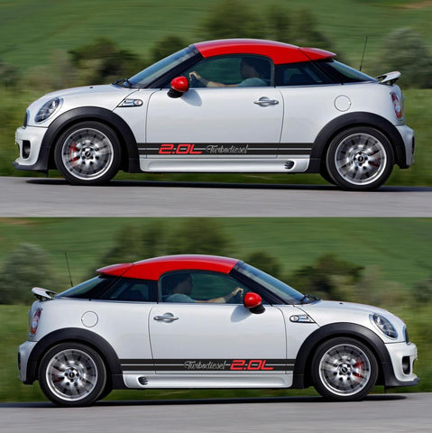 SPK-296 mini cooper coupe roadster r58 r59 racing stripes sticker works decal kit turbo john sports rally turbo - Infinity270